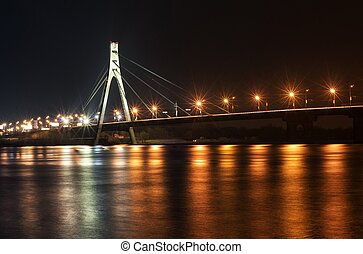 Kyiv, Moscow bridge at night - Kyiv, Moscow bridge...