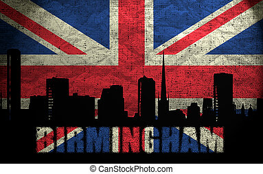 View of Birmingham on the Grunge British Flag