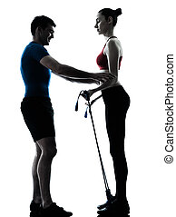 coach man woman exercising gymstick