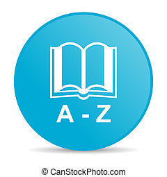 dictionary blue circle web glossy icon