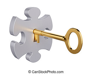 Puzzle key - 3D computer illustration with global...