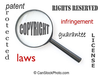 Copyright - Magnifying glass focused on the word copyright...