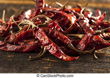 Organic Dried Red Hot Peppers in a bunch