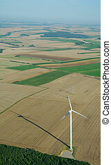 aerial view of a windturbine - Overview of a windturbine in...