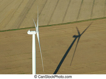 Aerial view of windturbine