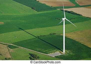 aerial view of windturbine and shadow - aerial view of...