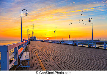 Pier in Sopot - Sunrise at the pier in Sopot, Poland.