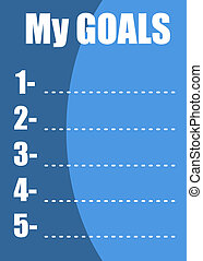 My goals list - My goals - blank numbered list in a blue...