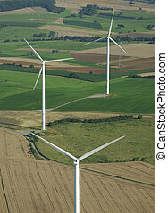 Aerial shoot of a wind farm in France Europe - Aerial shoot...