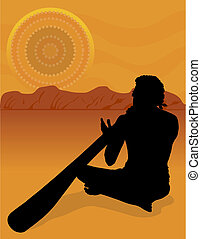 Aboriginal Silhouette - Black silhouette of an aboriginal in...