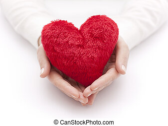 Coração, mulher, vermelho, mãos