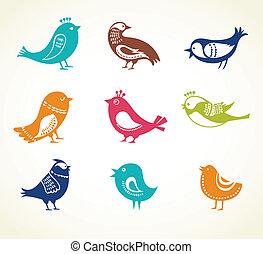 set of cute decorative birds