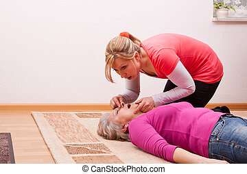 young woman ventilated senior - blond young woman ventilated...