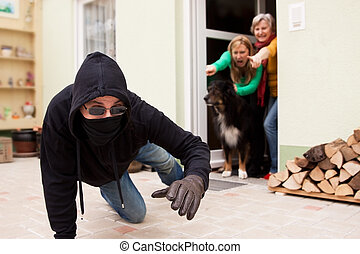 Burglars flee from the crime scene - Burglars trys to flee...