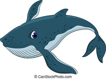 cute blue whale cartoon - vector illustration of cute blue...