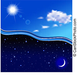 Sunny day and starry night Vector illustration