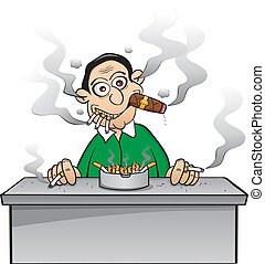 Chain smoker - addicted to nicotine - A smoking guy heavily...