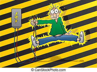 Electric shock - Cartoon man gets an electric shock