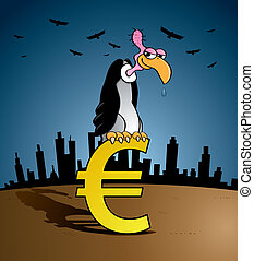 Bankruptcy vulture - euro sign - Bankruptcy vulture sitting...