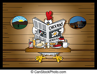 Morning news at the henhouse - chicken is reading the...