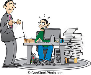 Overworked - Illustration of an overworked employee and his...