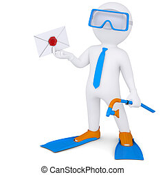 3d man with flippers holding an envelope - 3d white man with...