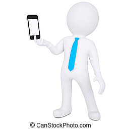 3d man holding smartphone - 3d white man holding a...