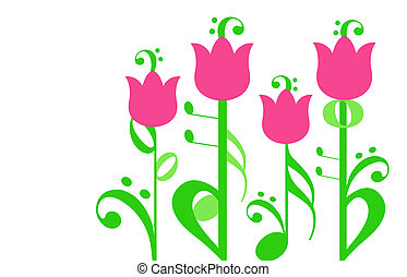 musical flowers - illustration of a garden of flowers with...