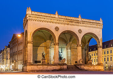 Feldherrnhalle at Odeonsplatz in Munich - Bavaria, Germany