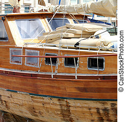 Wooden Yacht on winter parking
