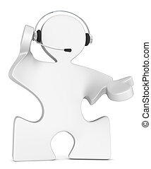 Solution. - Puzzle People with headset. White.