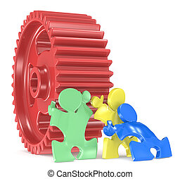 Team Effort. - Puzzle People x 3 moving big Cogwheel. Red,...