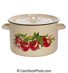 pan pot kitchen isolated white background