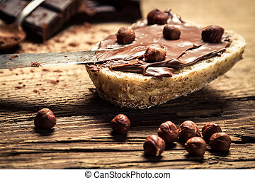 Sandwich with peanut butter and hazelnuts