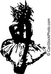 Illustrated Woman Silhouette Vector - A black and white...