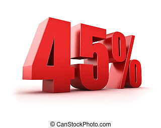 45 percent - 3D Rendering of a forty-five percent symbol
