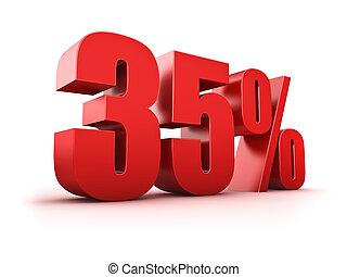 35 percent - 3D Rendering of a thirty-five percent symbol
