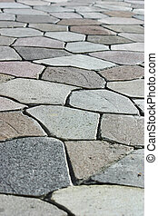 Stone Walkway 2 - A very geometric stone walkway with many...