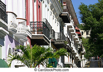 Balconies 2 - Colorful architecture with balconies in San...