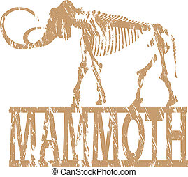 Mammoth. - A mammoth skeleton in grunge effect.