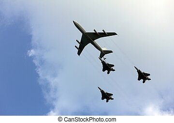 Aerial refueling - Israeli Air Force airplanes four-engine...