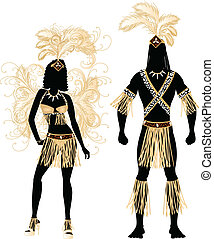 Carnival Zulu Couple - Vector Illustration Zulu Couple for...