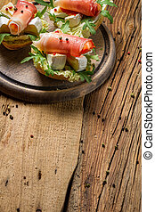 Fresh sandwiches on a old wooden cutting board background 4