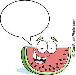 Cartoon watermelon with a caption b