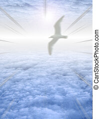 Bird in serene cloudscape - Bird soars in serene cloudscape