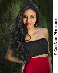 Exotic beautiful young woman - Beautiful young mixed race...