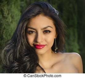 Exotic beautiful young woman - Beautiful young mixed race...
