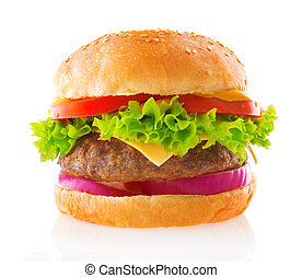 Beef burger isolated white background