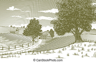 Woodcut Rural Scene - Woodcut style illustration of a...