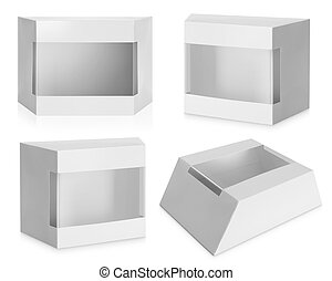 White Product Package Box With Window isolated over white...